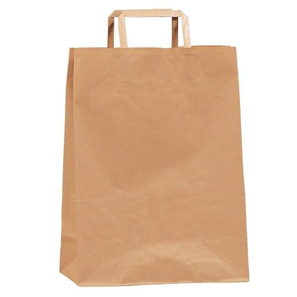 Papieren kraft tassen met platte handvatten