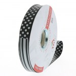 Krullint dots & stripes omkeerbaar zwart en zilver in 19mm x 100m