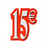 Poster 15€ rood/wit 21x18cm